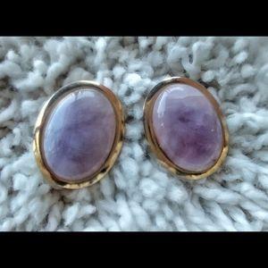 3/$20 VNTG Purple Amethyst Clip Statement Earrings
